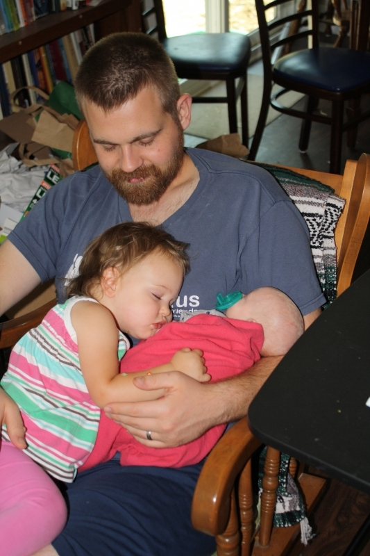 Tirzah Mae and Louis asleep on papa
