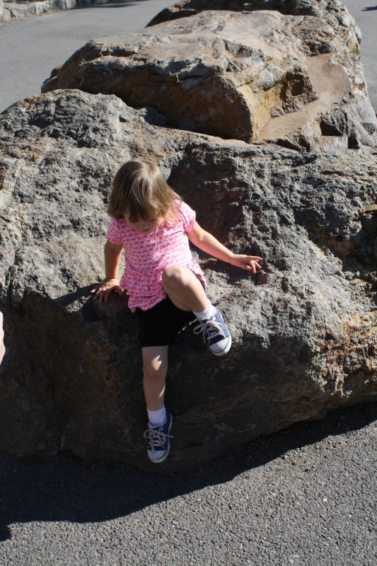 Tirzah Mae gets down from a boulder at Gibbons Falls