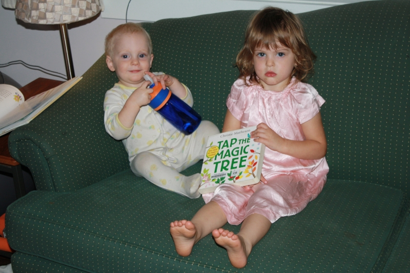 "Tirzah Mae and Louis read ""Tap the Magic Tree"""