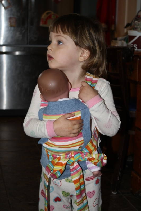 Tirzah Mae and her dolly with the new pouch