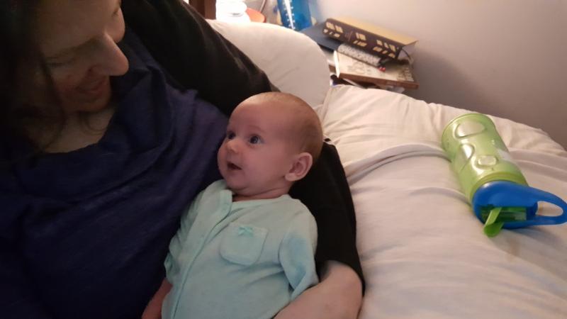 Beth-Ellen makes faces at mama