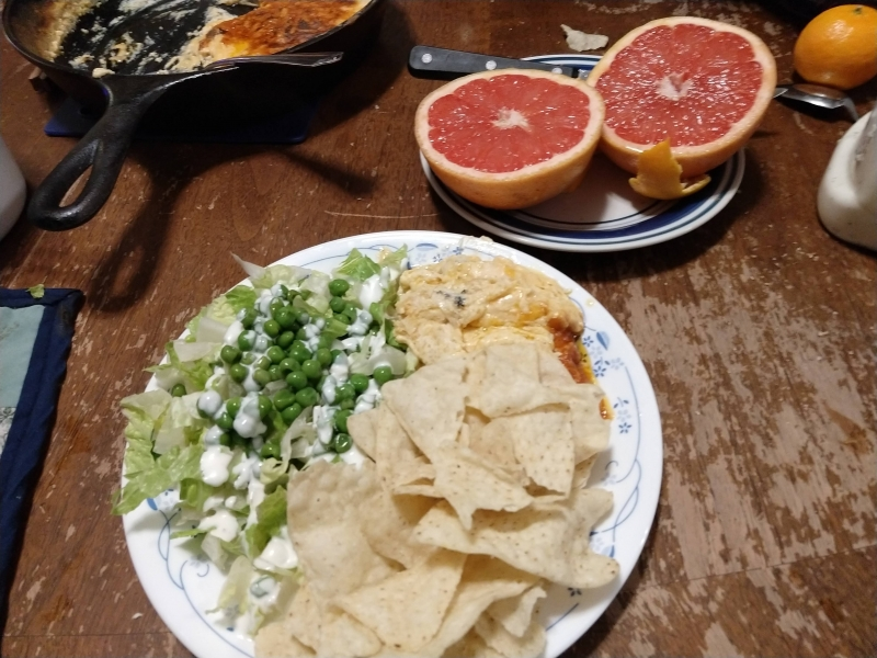 Buffalo Chicken Dip, Lettuce Salad, and Grapefruit
