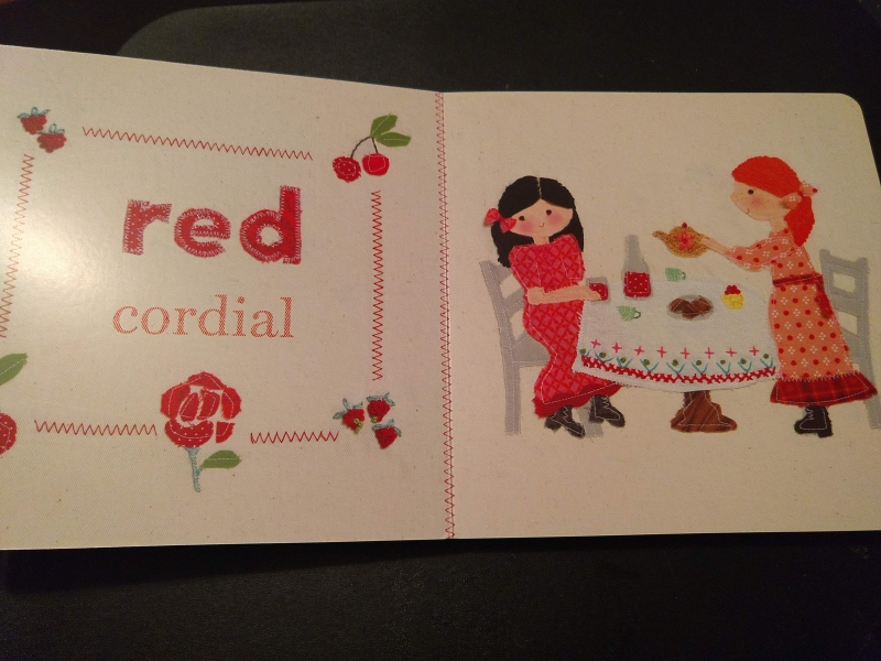 """""""Red cordial"""" with image of Anne and Diana at a tea-table"""