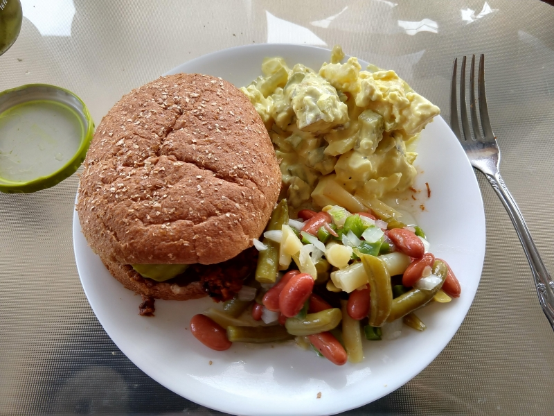 BBQ Pork with Three Bean Salad and Potato Salad