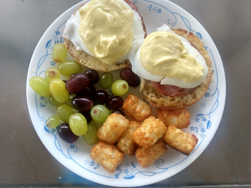 Eggs Benedict, Grapes, and Tater Tots