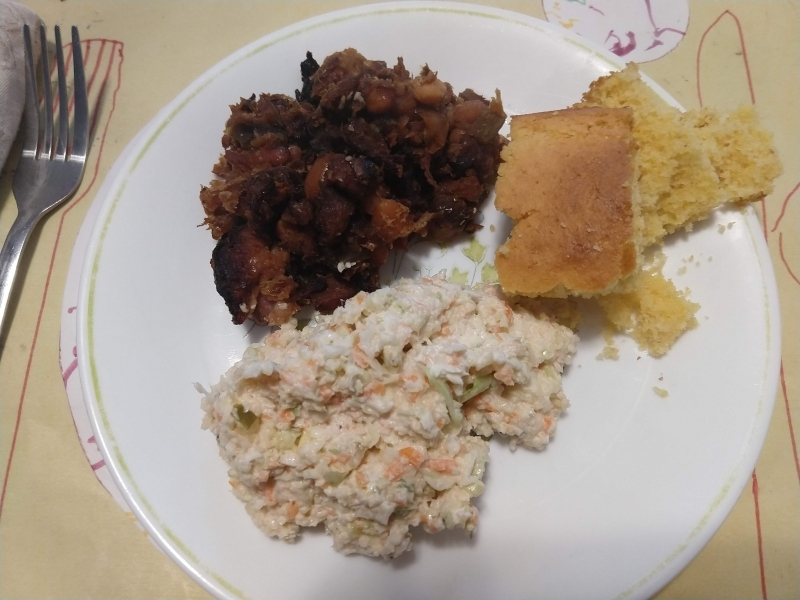 Baked beans, cornbread, and coleslaw