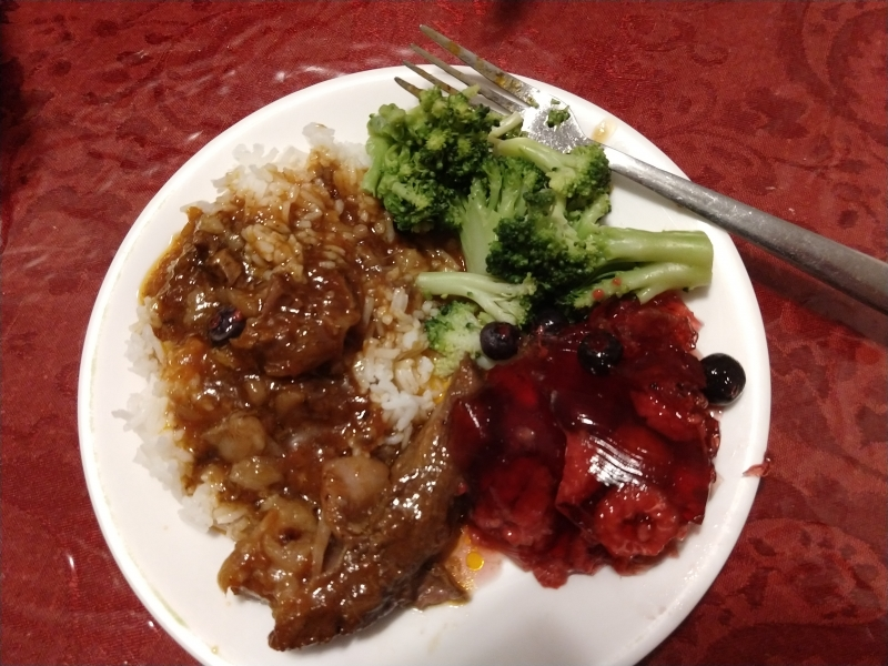 Barbecue Beef over Rice, Broccoli, Berry Gelatin Salad