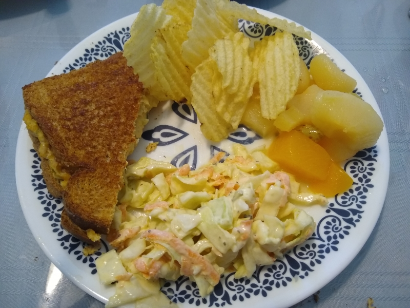 Tuna Melts, Copycat Popeyes Coleslaw, Potato Chips, and Mixed Fruit