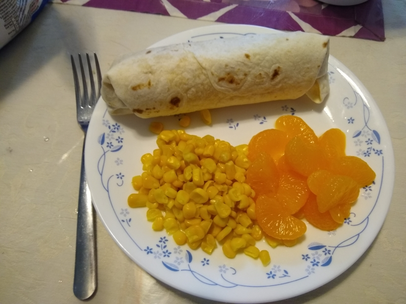 Salsa Chicken Burritos, Mandarin Oranges, Corn