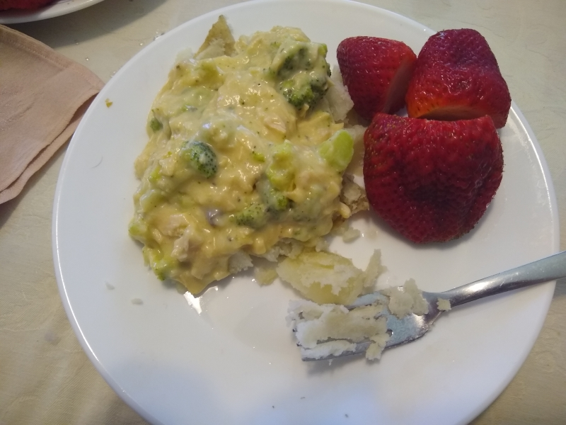 Chicken and Broccoli Gravy over Baked Potatoes with Fresh Strawberries