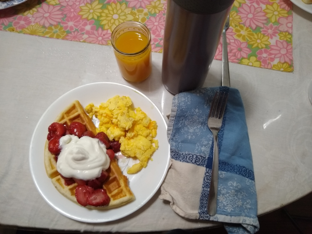 Waffles and Scrambled Eggs