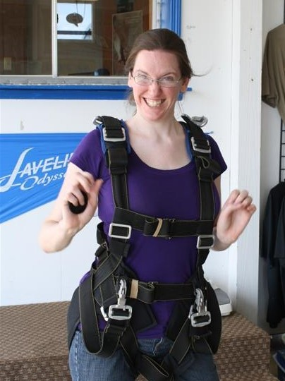 Geared up for skydiving