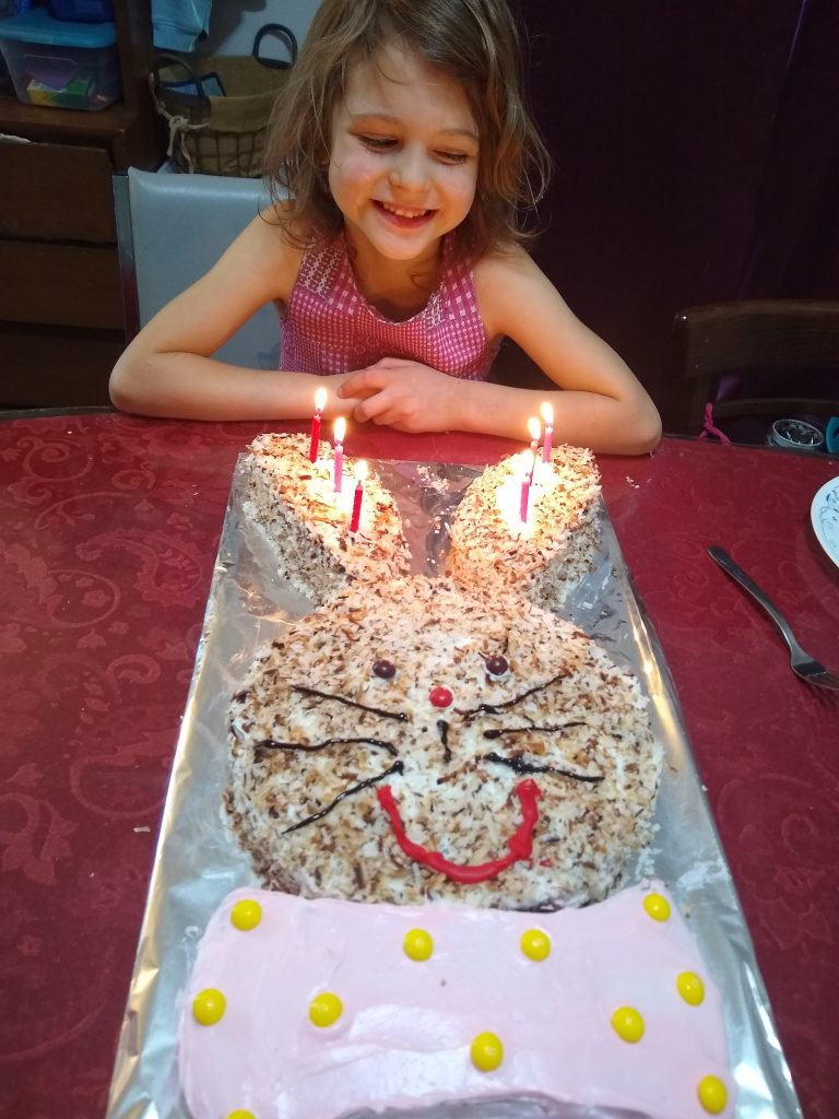 Tirzah Mae and her bunny cake