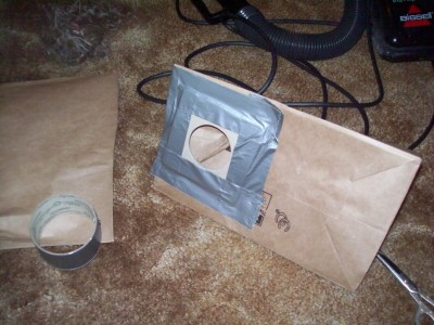 Homemade vacuum cleaner bag